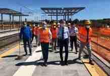 Marco Falcone, assessore reginale, in visita al cantiere della stazione Fontanarossa